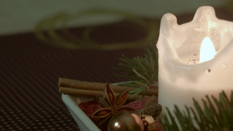 Traditional German Christmas decoration with brown background Footage