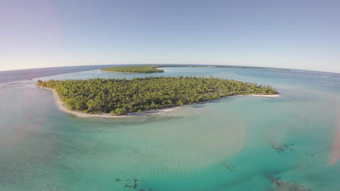 Aerial view of a tropical island and palm tree - Tetiaroa, Tahiti, French Polyne Footage