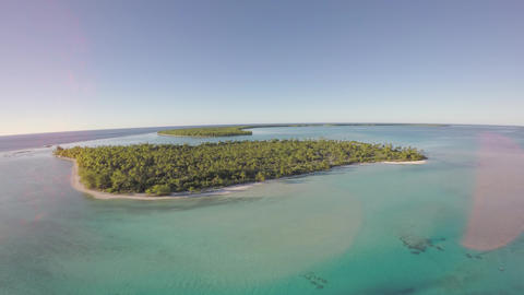Aerial view of a tropical island in a tropical lagoon - Tetiaroa, Tahiti, French Live Action