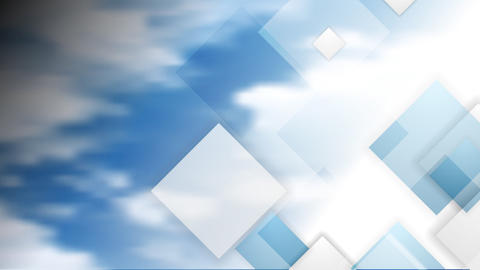 Blue cloudy sky and tech squares video animation Animation