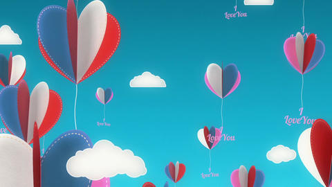 Love Balloons Background Animation for Valentines Day and Wedding Animation