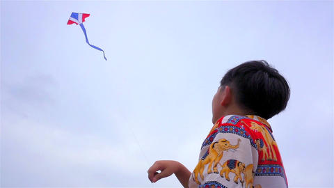 Children fly a kite Footage
