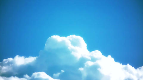 Glowing Clouds Cumulus Cloudscape with Blue Sky TimeLapse Footage