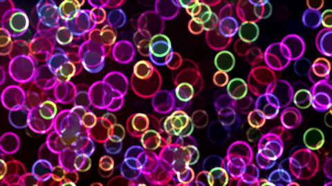 Colorful Glowing Circles with Neon Effect Animation Background Backdrop CG動画素材