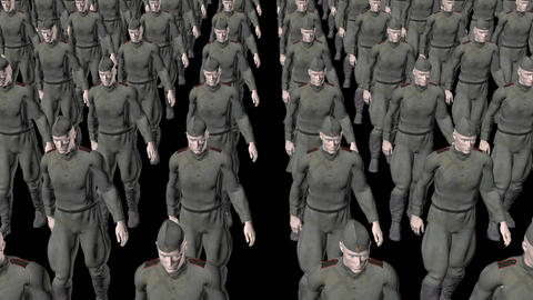 The regiment of Russian soldiers marching,loop, animation, Alpha channel Animation