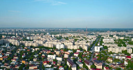 Aerial Panoramic View Of Bucharest City In Romania Live Action
