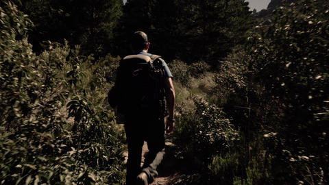 Track shot of young man hiking in the forest Footage