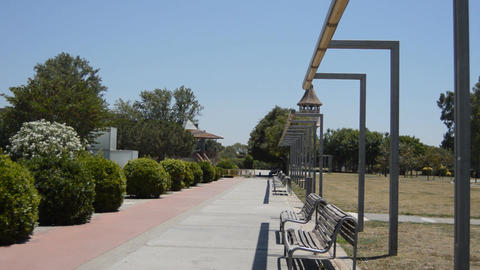 Empty Park Benches By Monument Filmmaterial