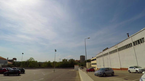 Empty Parking Lot In The Sun And Blue Sky 4k Footage