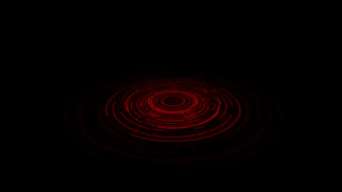 Tron Hologram Portal Vortex Spin on the Ground Red with Vertical Light Rays.Alph Animation