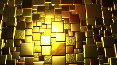 Golden Cubes Background In 4k Animation