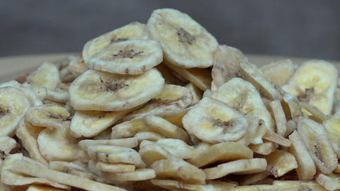Dried banana slices. turntable Footage