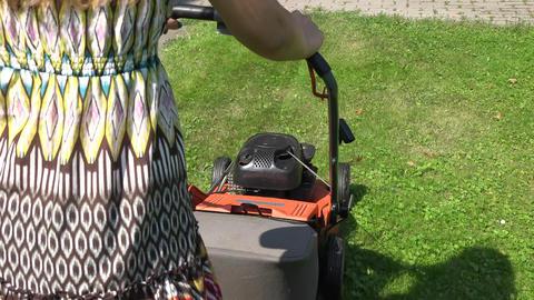 Gardener woman in spotty dress push lawn mower cutting meadow grass. 4K Footage
