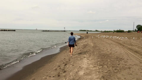 Woman walks along the shores of Lake Erie in summer barefoot near seagulls Footage
