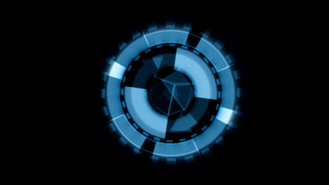 Arrow Interface Data Loader Blue Glow Circular Round with Light Rays. Alpha Chan Animation