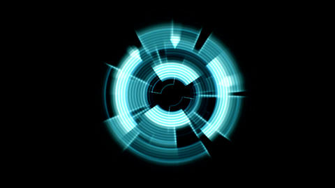 Interface Data Loader Blue Glow Circular Round with Ripple Effect. Alpha Channel Animation
