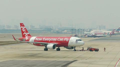 Aircraft Parking Air Asia Airport 4k Footage