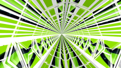 Inside a 3D Green Tunnel Animation. Exit at the End Animation