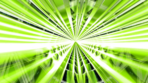 Inside a 3D Green Illuminated Tunnel. Exit at the End Animation