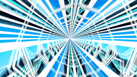 Inside a 3D Blue Tunnel Animation. Exit at the End Animation