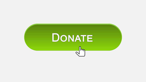 Donate web interface button clicked with mouse cursor, different color choice Footage