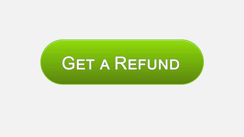Get a refund web interface button clicked with mouse cursor, different colors Footage
