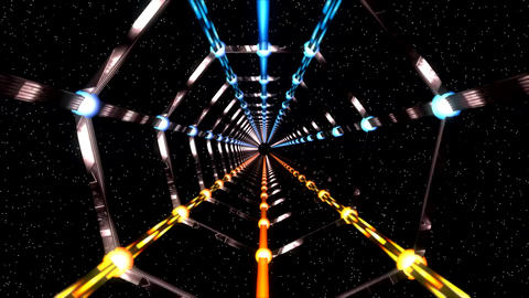 3D Dark Grey Metallic Space Tunnel with Starfield Background Animation Animation