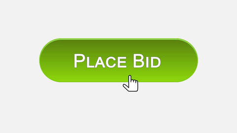 Place bid web interface button clicked with mouse cursor, different colors Footage