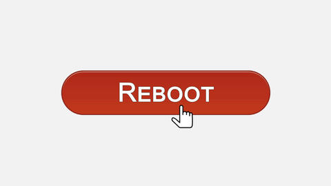 Reboot web interface button clicked with mouse cursor, different color choice Footage