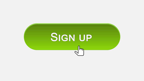 Sign up web interface button clicked with mouse cursor, different color choice Footage