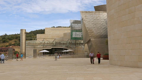 Guggenheim Bilbao Museum of modern and contemporary art welcoming its visitors Footage