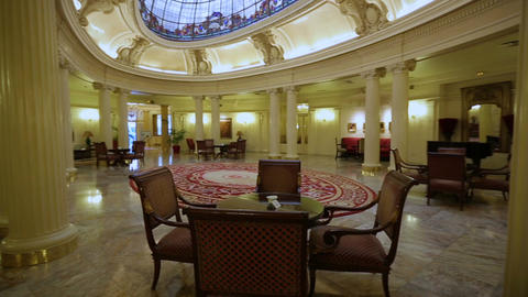 Beautiful luxury hall of expensive hotel or casino with decorative glass ceiling Footage