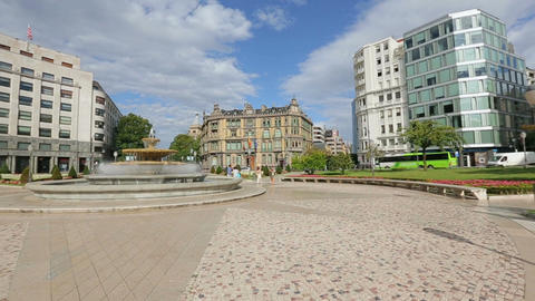 Panorama of Elliptic square located in Bilbao city center, sightseeing in Spain Footage