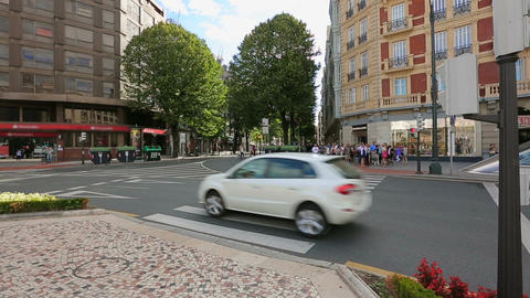 Bilbao residents waiting for green light to cross the road in city center Footage