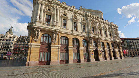 Masterpiece facade of Arriaga Theatre, popular place of interest in Bilbao Live Action