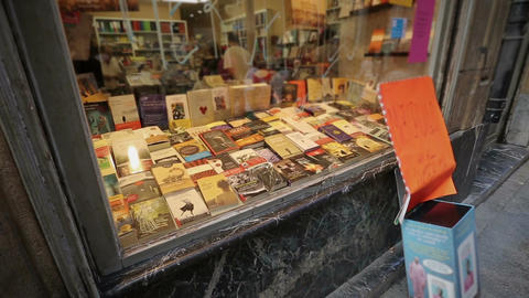 Great assortment of books at window display in bookstore, shopping in Europe Footage