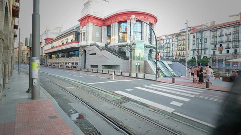 Modern tram car riding along Bilbao streets, public transportation in Europe Footage