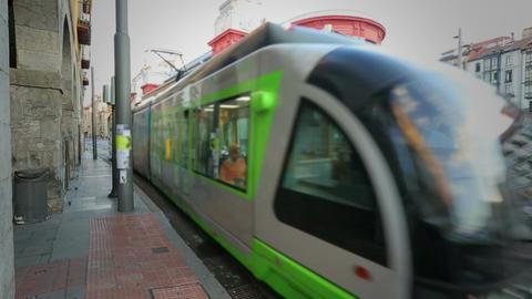 Modern tram car riding along Bilbao streets, public…, Live Action