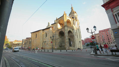 Church of San Anton, catholic temple located in old town of Bilbao, Spain Footage