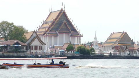 Chao Phraya River Boats Temple 4k Footage