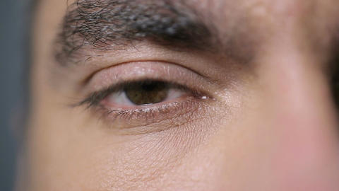 Male eye looking into camera, closeup shot. Eye exam, vision care, ophthalmology Live Action