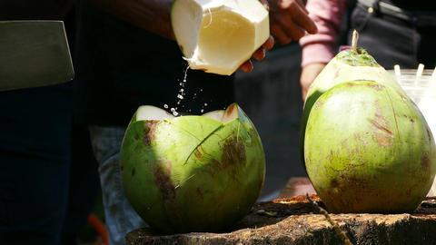 Coconut Cutting Drink 4k Footage
