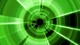 2D Tron Round Tunnel Portal Vortex Green Color with Light Rays Animation