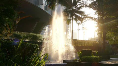 Fountains Landscaping Architectural Details City Sunlight 4k Footage