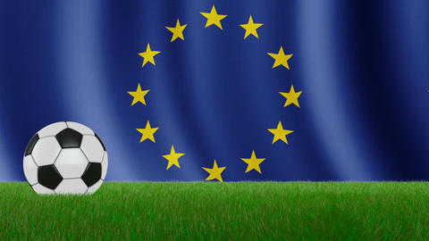 Ball on the flag EU CG動画素材