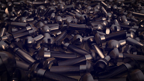 Scattered screws , metal screw, steel screw, nuts Animation