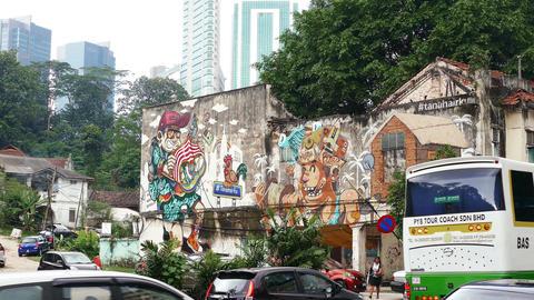Graffiti Wall Travel Malaysia 4k Footage
