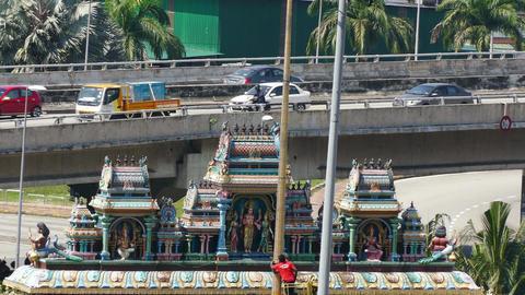 Hindu Temple Bridge Transport 4k Footage