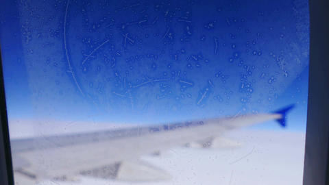Hoarfrost Window Airplane Wing Travel 4k Footage