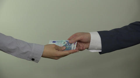 Money racket extortion. man give money to mafia woman. 4K Footage